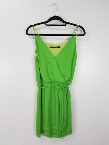 Zara apple green spaghetti strap dress