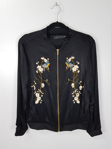 Zara Woman black silky bomber jacket with embroidery