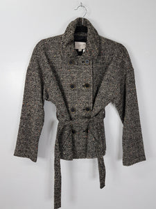 Ann Taylor Loft grey tweed short peacoat