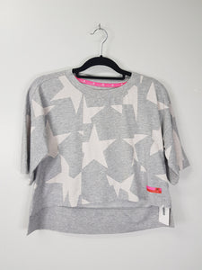 Adidas grey with stars design mini long back 3/4 blouse