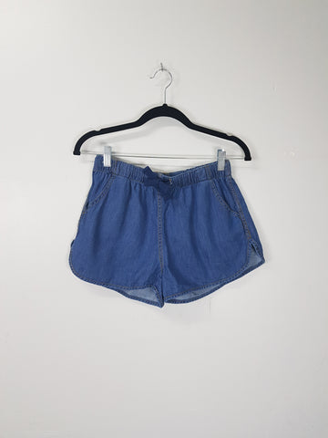 NA dark wash denim drawstring shorts