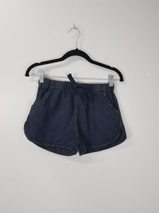 NA mid wash denim drawstring shorts