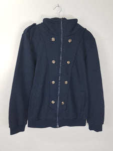 Life Eight Man dark blue hooded jacket with buttons