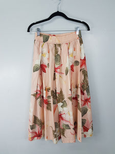 Zara orange with floral design long skirt