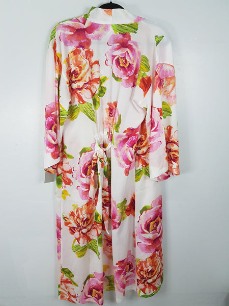 Natori white floral design 3/4 sleeves long dress