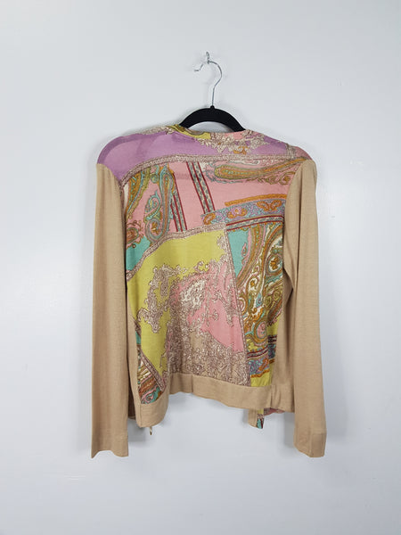 Passma beige with paisley print cardigan
