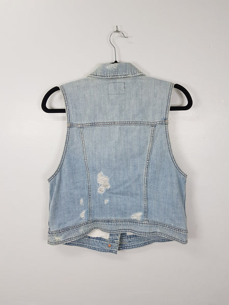 American Eagle blue distressed denim vest