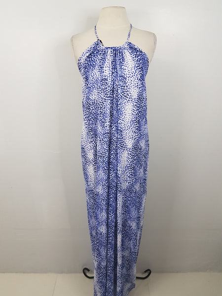 Tint Blue and White Leopard Maxi Summer Dress