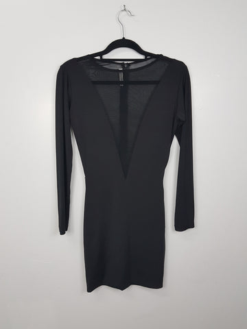 Charina Sarte Black Long Sleeved Body Con Dress with Mesh