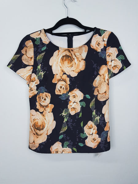 N/A Black Large Orange Floral Blouse