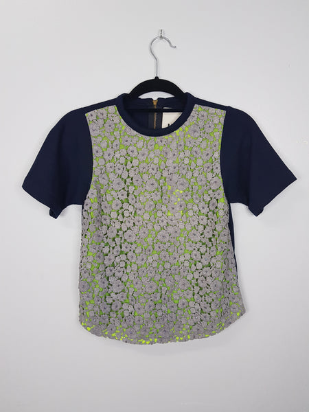 Blue shirt blouse with lime green mesh and crochet floral