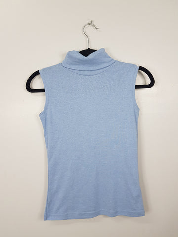 P&C Peek blue sleeveless turtleneck top