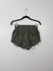 NA dark green denim short shorts