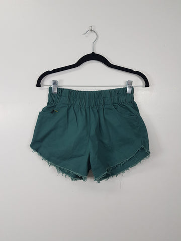 NA olive green denim short shorts