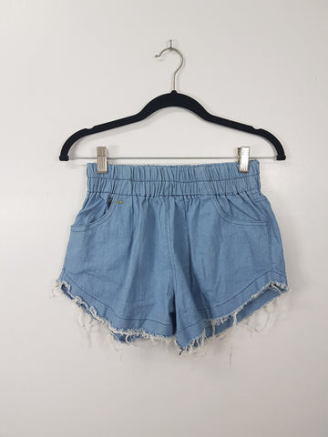 NA light blue denim short shorts