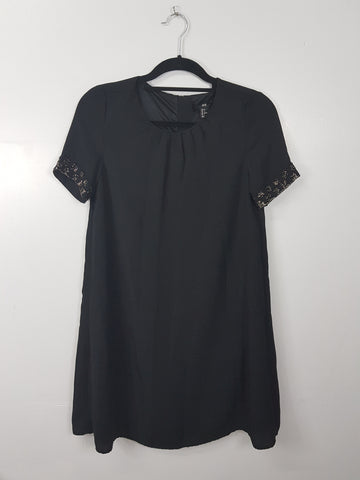 H&M black beaded short sleeve dress