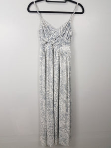 New York & Company grey and white spaghetti strap long dress
