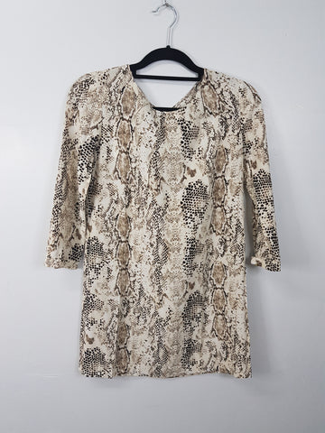 MNG beige snakeskin print 3/4 mini dress
