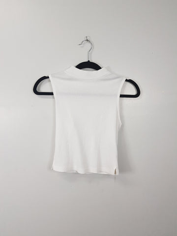 Topshop white high neck sleeveless tank