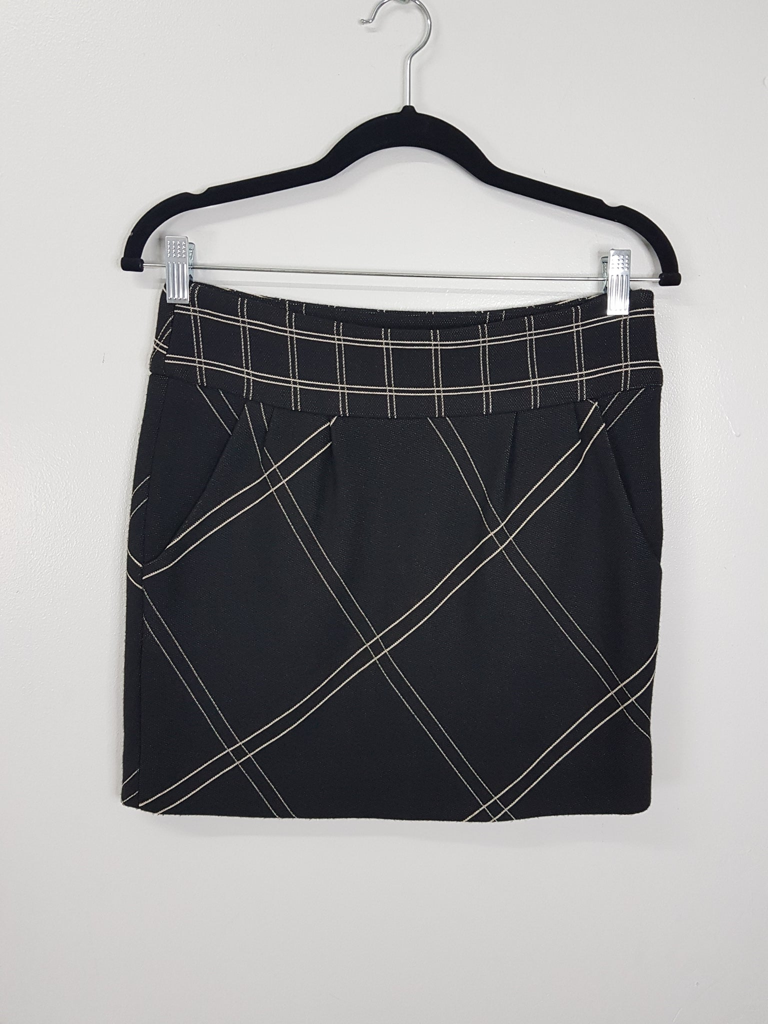 Diane Von Furstenburg Black Skirt with white stripes