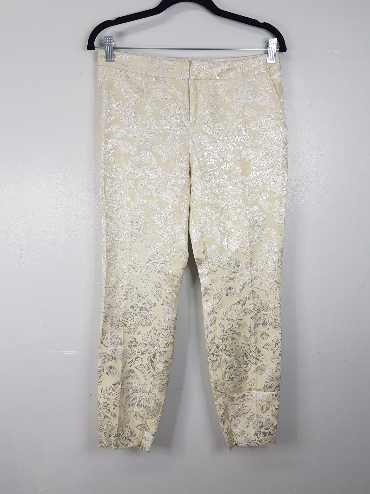 Forever 21 Silver Floral Jaquard Tapered Trousers