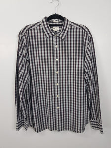 J, Crew white with multicolored checkered long sleeve