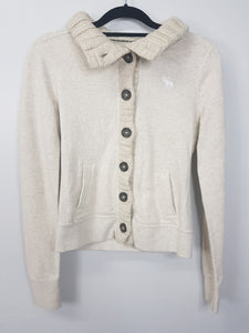 Abercrombie cream longsleeve crochet turtle neck with buttons and side pockets jacket