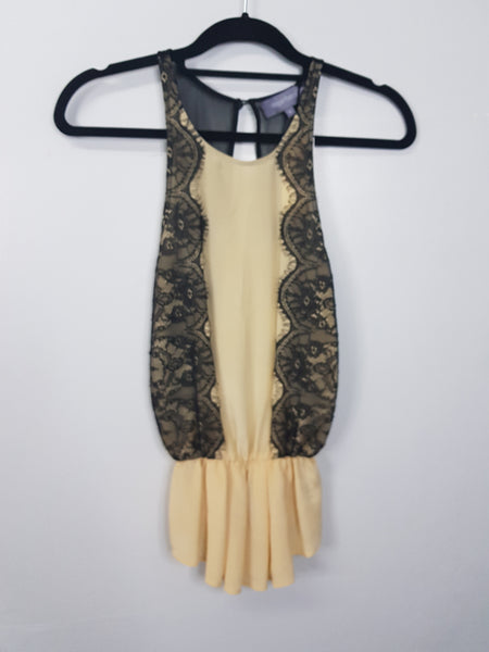Magali Pascal beige with black seam sleeveless blouse