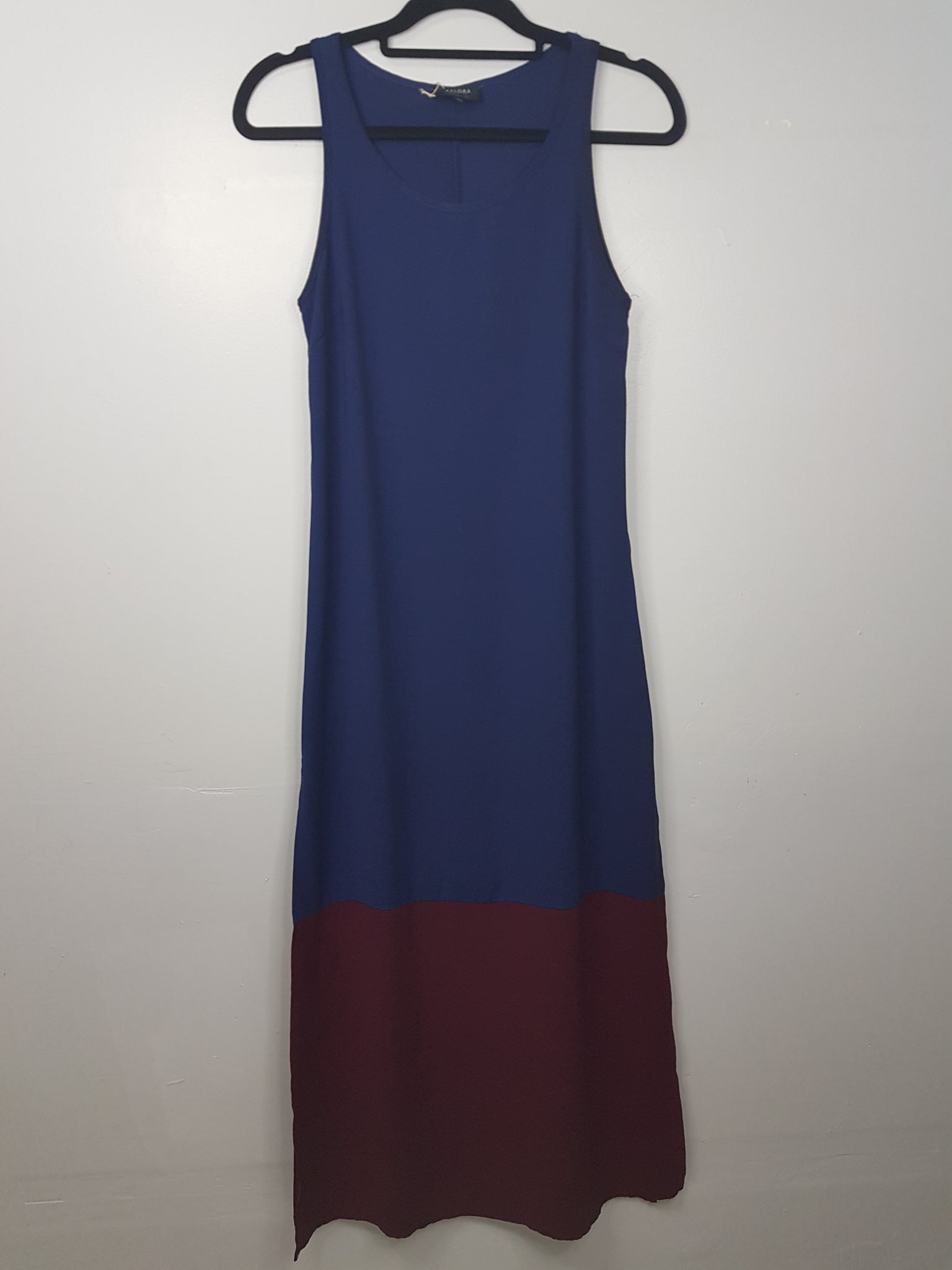Zalora Blue Maxi Dress with Maroon Bottom and Side Slit