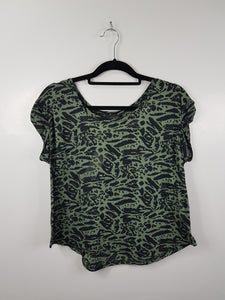 Topshop Black and Green Camouflage Short Sleeve Blouse