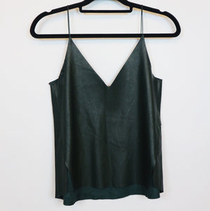 Zara dark green faux leather cami top