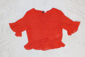 H&M red bell sleeves peplum blouse