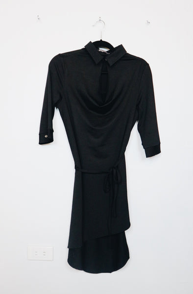 Maldita black round neck 3/4 sleeves long back dress