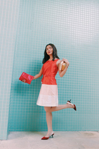 CLN orange belted shift dress