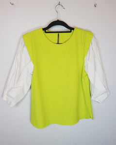 NA apple green and white sleeve blouse