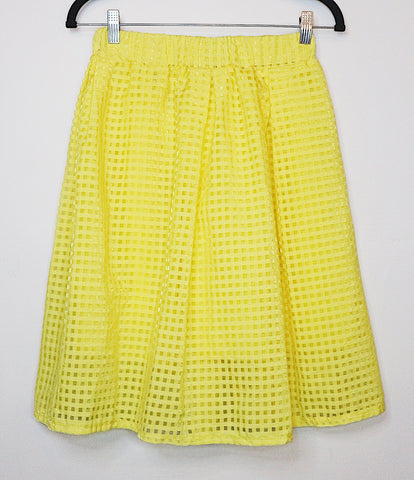 Threads Yellow checkered mid-length skirt