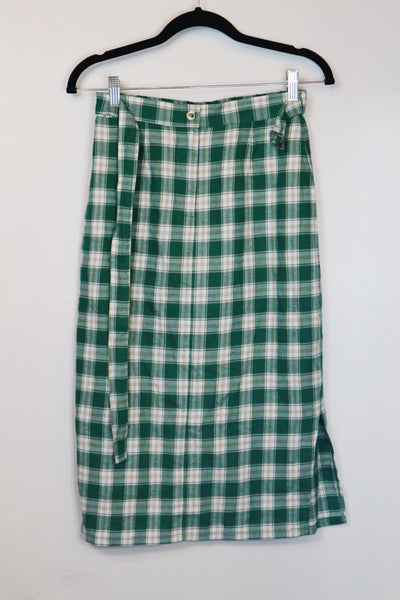 Pomelo green checkered with belt skirt