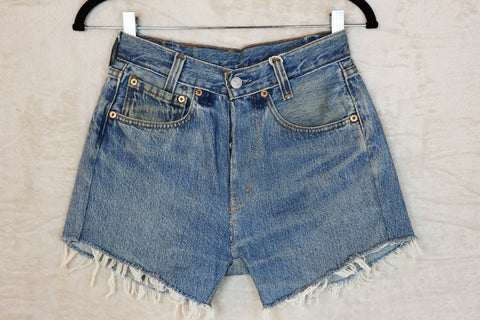 Levis Light Wash Vintage Resewn High Waist Distressed Denim Shorts
