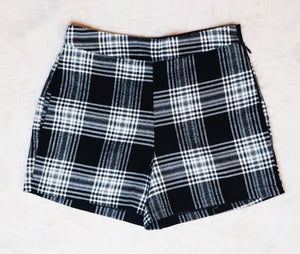Miz and Moxie black checkered all plaid out short shorts