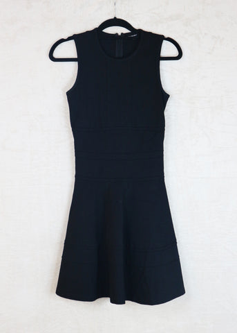 Warehouse black sleeeveless A-line dress