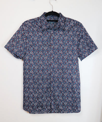 Perry Ellis multicolor with floral design short sleeved collared polo