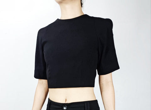 Nasty Gal black open sleeve 3/4 sleeve mini crop top