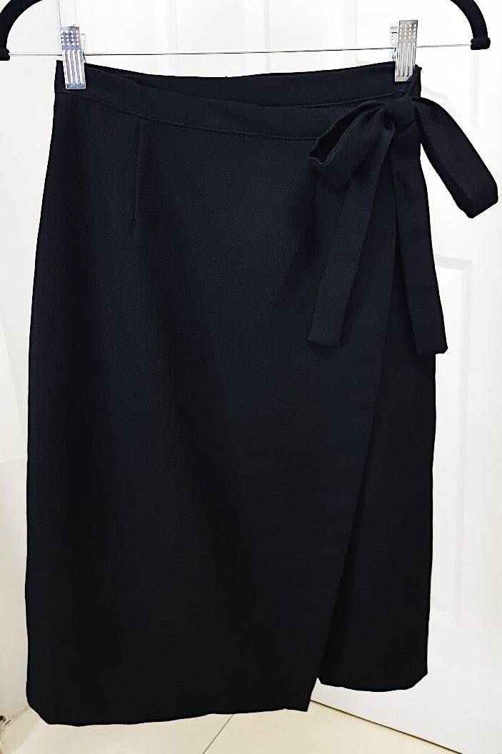 Weave Black Wrap Skirt