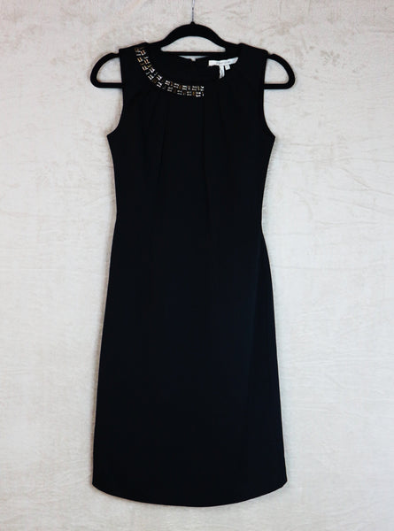 Max & Cleo Black Straight Cut Dress with Beaded Neck