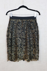 K8 Los Angeles Pencil Skirt with Gold Flower Eyelet Design