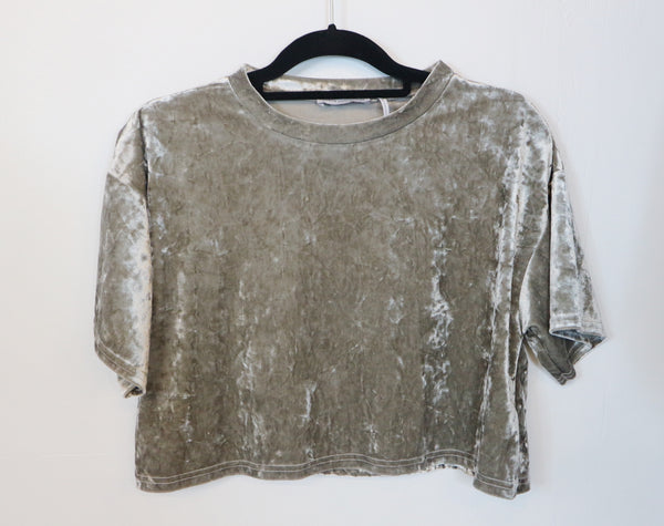 Urban Outfiters gray velvet crop top