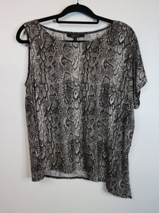 BCBG Grey Blouse with One Sleeve and Snake Skin Pattern Design