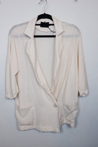 Mia E white long v neck line longsleeve blouse