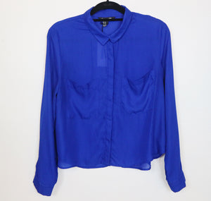 Forever 21 blue long sleeve with pockets infront blouse
