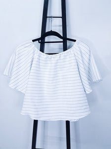 Carisse white with blue stripes off shoulder puffed sleeves blouse